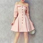 Korean Off-Shoulder Denim Dress 一字肩粉嫩公主牛仔收腰显瘦连身裙
