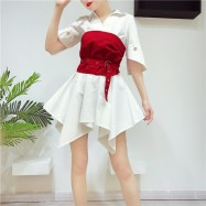 image of Korean Woman Lapel Features Cuff Irregular Shirt Dress Tube Top