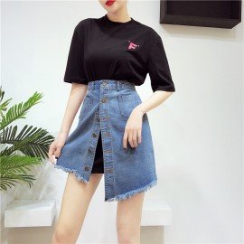 image of T-shirt high waist Denim Skirt Two-piece 长款T恤高腰牛仔裙
