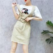 image of Denim Sling Short Skirt 牛仔背带裙短裙子
