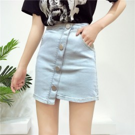 image of Slant-breasted high waist irregular hip skirt 斜排扣高腰不规则包臀裙