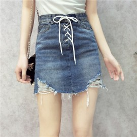 image of Korean lace worn Joker cowboy skirt summer Jeans