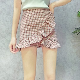 image of High waist Irregular lotus leaf lattice shorts skirt pants