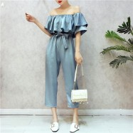 image of Strapless collar collar leaf waistband off-shoulder Jumpsuit