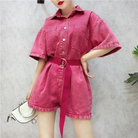 image of High waist wide shorts denim Jumpsuit