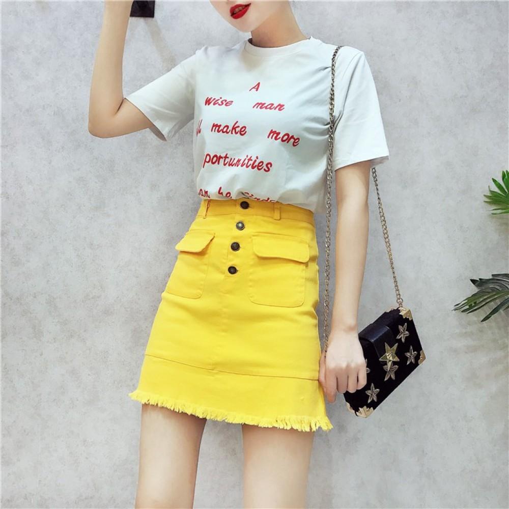 Women's white T + denim bag hip skirt *One Set