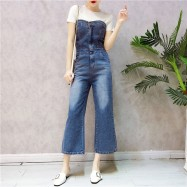 image of Korean style Loose Summer Jeans Tube top Jumpsuit