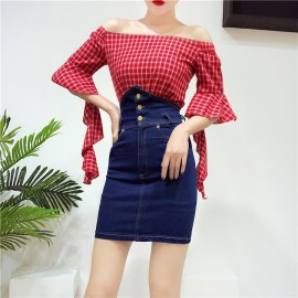 image of Korean two-piece plaid high waist denim skirt 韩范一字领格子高腰牛仔半身裙两件套