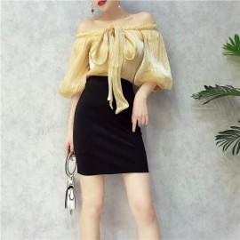 image of Women's Silk Strap Lantern Sleeve 3in1 Two-piece Fashion Set 亮丝绑带一字领灯笼袖包臀裙两件套装