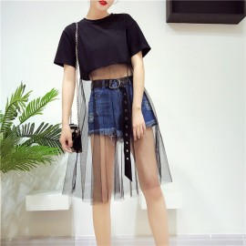 image of Korean fashion suit short-sleeved T-shirt perspective mesh denim skirt