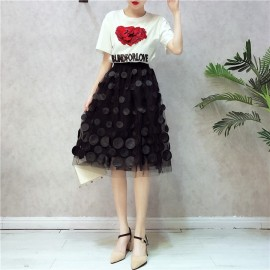 image of Set Wear 3d embroidery short-sleeved Top n Dresses