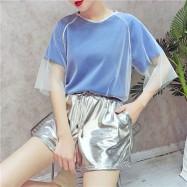 image of HongKong mesh ulzzang silver high waist 3 set wear