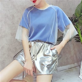 image of HongKong mesh ulzzang silver high waist 3 set wear