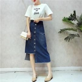 image of Korean White T + Jeans Irregular Skirts