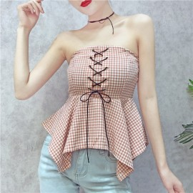 image of strapless sexy strap tube top irregular doll shirt