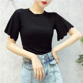 image of Ulzzang Korean Hot Flower Sleeve Top-T
