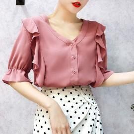 image of Women's Chiffon Shirt V-neck Muzzle sleeves