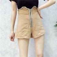image of Korean *Hot* irregular double zipper high waist shoer pants