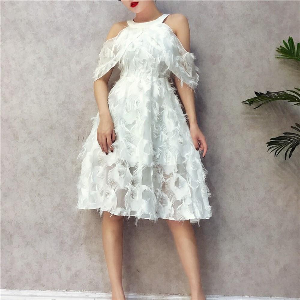 HongKong Strapless slim mesh stitching feather temperament dress 露肩网纱羽毛连身裙