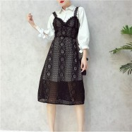 image of Korean 2in1 Cropped sleeve strap flower hollow lace dress 七分袖衬衫蕾丝连身裙