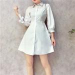 Korean 2in1 Cropped sleeve strap flower hollow lace dress 七分袖衬衫蕾丝连身裙