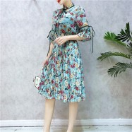 image of Chiffon floral strappy short sleeve pleated dress 雪纺碎花系带短袖百褶裙