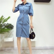 image of Korean wash retro cowboy lantern dresses 牛仔灯笼袖中袖连身裙