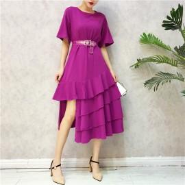 image of Transparent waistband irregular layer ruffle dress 透明腰带开叉不规则层荷叶边裙