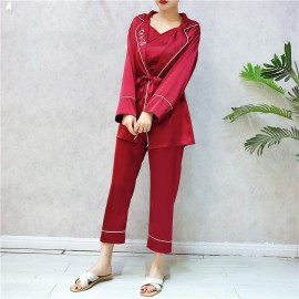 image of Sleep Wear 3 Piece Suits chiffon silk embroidery