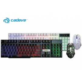 image of Cadeve Gaming Keyboard Rainbow Backlight RGB with Mouse Combo (White)