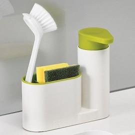 image of 2 in 1 Sink Tidy Sey Press Soap Pump Hand Soap lotion Dispenser Sponge Holder Declutter Kitchen Sink Basin Organizer
