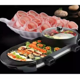 image of 2 IN 1 Korean BBQ with 2 temp controller Pan Grill & Hot Pot Steamboat