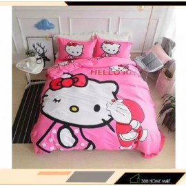 image of 【King Size】5 in 1 Bed Sheet set Doraemon Kiss Hello Kitty Cute Cartoon Design Fitted Bed Sheets ( Quil Cover: 80 x 90 )