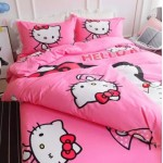 【King Size】5 in 1 Bed Sheet set Doraemon Kiss Hello Kitty Cute Cartoon Design Fitted Bed Sheets ( Quil Cover: 80 x 90 )