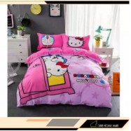 image of 【King Size】5 in 1 Bed Sheet set Doraemon Love Hello Kitty Cute Cartoon Design Fitted Bed Sheets ( Quil Cover: 80 x 90 )