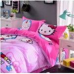 【King Size】5 in 1 Bed Sheet set Doraemon Love Hello Kitty Cute Cartoon Design Fitted Bed Sheets ( Quil Cover: 80 x 90 )