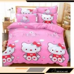 【King Size】5 in 1 Bed Sheet set Hello Kitty Love Cute Cartoon Design Fitted Bed Sheets ( Quil Cover: 80 x 90 )