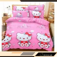 image of 【King Size】5 in 1 Bed Sheet set Hello Kitty Love Cute Cartoon Design Fitted Bed Sheets ( Quil Cover: 80 x 90 )