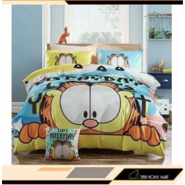 image of 【Garfield - King Size】5 in 1 Bed Sheet set Cute Cartoon Design Fitted Bed Sheets ( Quil Cover: 80 x 90 )