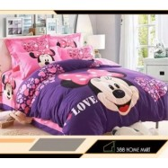 image of 【Minnie - King Size】5 in 1 Bed Sheet set Cute Cartoon Design Fitted Bed Sheets ( Quil Cover: 80 x 90 )