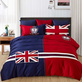 image of 【UK - King Size】5 in 1 Bed Sheet set United Kingdom Design Premium High Quality Fitted Bed Sheets ( Quil Cover: 80 x 90 )