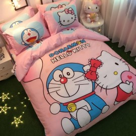 image of 【King Size】5 in 1 Bed Sheet set Doraemon and Hello Kitty Cute Cartoon Design Fitted Bed Sheets ( Quil Cover: 80 x 90 )