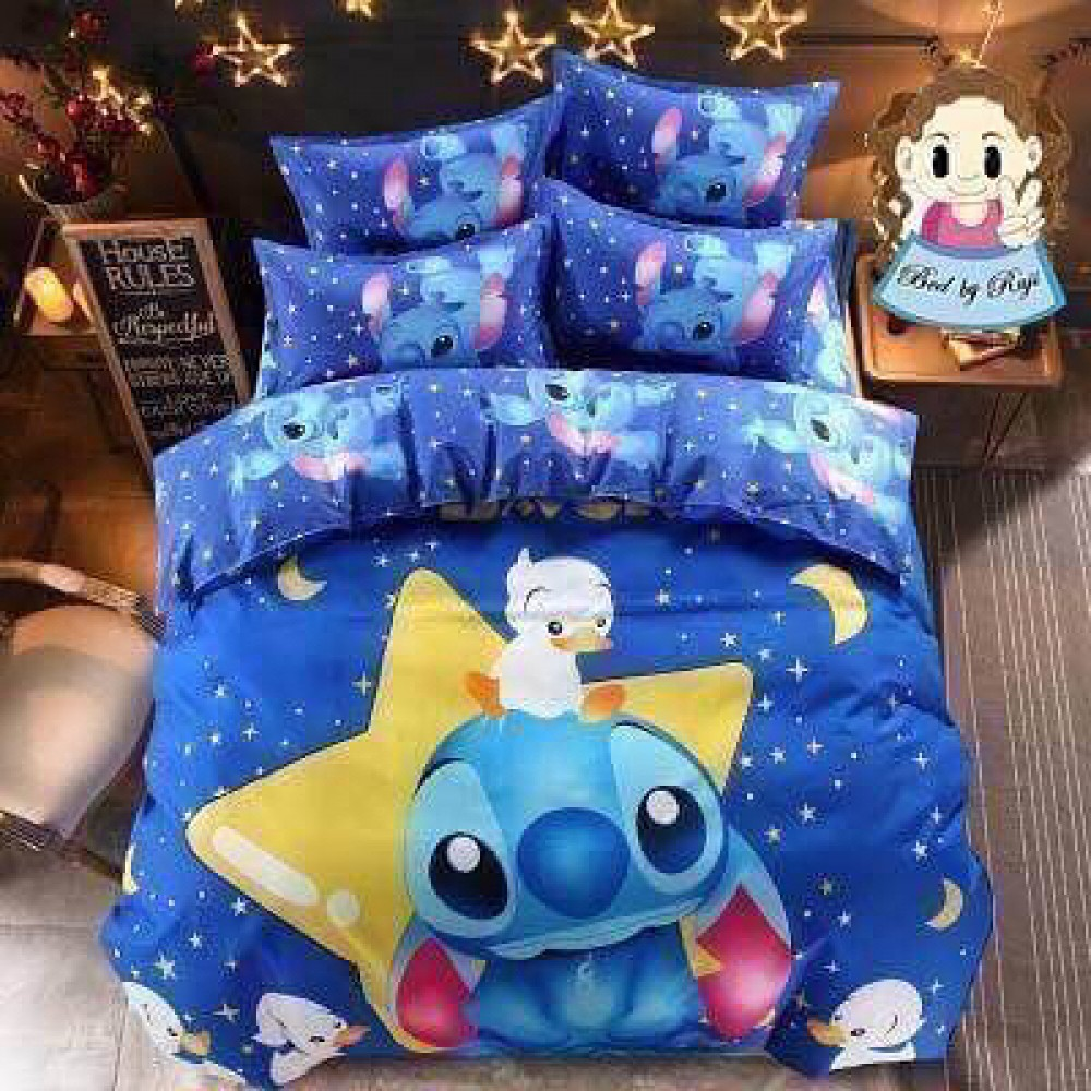 【Stitch - King Size】5 in 1 Bed Sheet set Cute Cartoon Design Premium High Quality Fitted Bed Sheets ( Quil Cover: 80 x 90 )