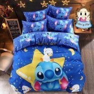 image of 【Stitch - King Size】5 in 1 Bed Sheet set Cute Cartoon Design Premium High Quality Fitted Bed Sheets ( Quil Cover: 80 x 90 )