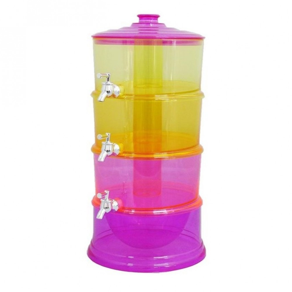 【3 Tier】6 Liter Gallons Stackable Colorful Beverage Dispenser With Ice Chamber