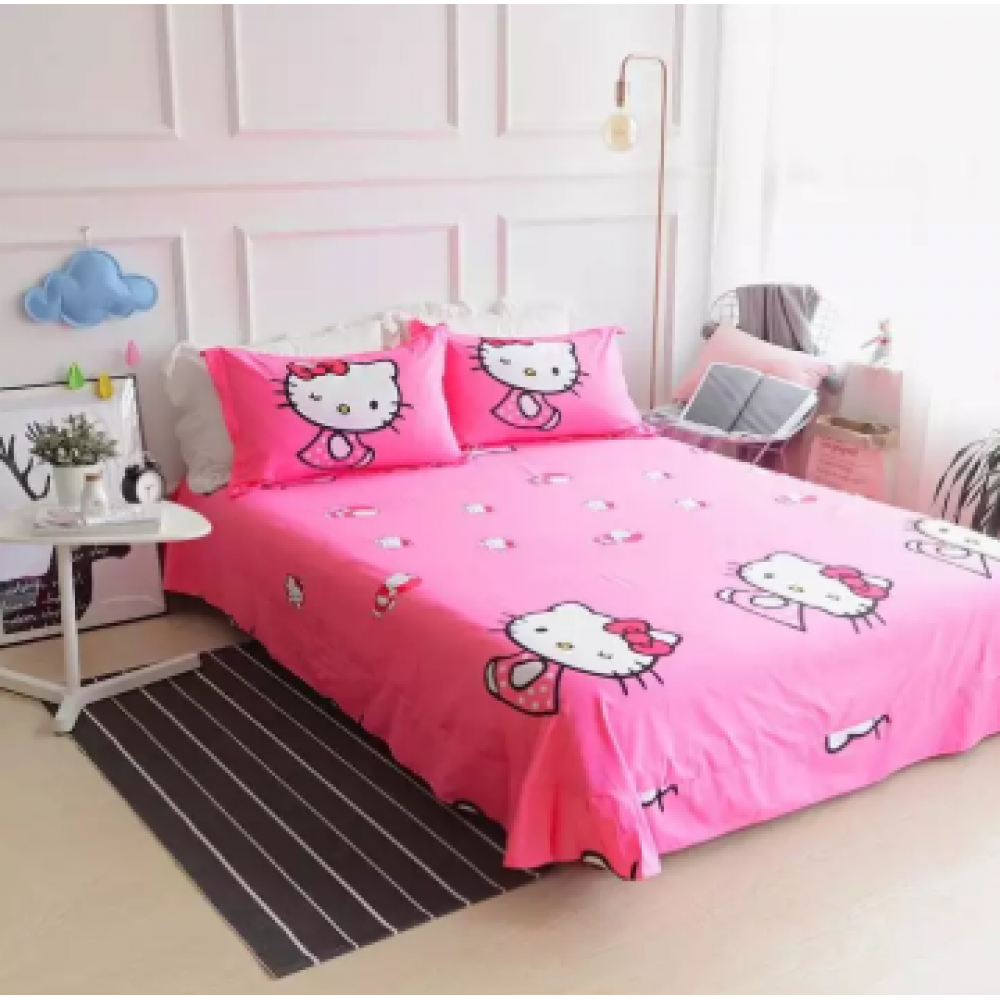 【Queen Size】5 in 1 Bed Sheet set Doraemon Kiss Hello Kitty Cute Cartoon Design Fitted Bed Sheets ( Quil Cover: 80 x 90 )
