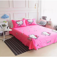 image of 【Queen Size】5 in 1 Bed Sheet set Doraemon Kiss Hello Kitty Cute Cartoon Design Fitted Bed Sheets ( Quil Cover: 80 x 90 )