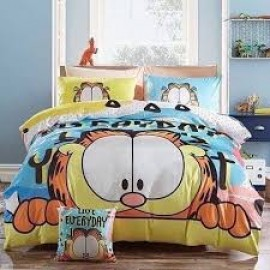 image of 【Garfield - Queen Size】5 in 1 Bed Sheet set Cute Cartoon Design Fitted Bed Sheets ( Quil Cover: 80 x 90 )