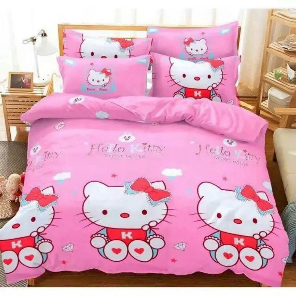 【Queen Size】5 in 1 Bed Sheet set Hello Kitty Love Cute Cartoon Design Fitted Bed Sheets ( Quil Cover: 80 x 90 )
