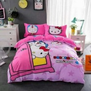 image of 【Queen Size】5 in 1 Bed Sheet set Doraemon Love Hello Kitty Cute Cartoon Design Fitted Bed Sheets ( Quil Cover: 80 x 90 )